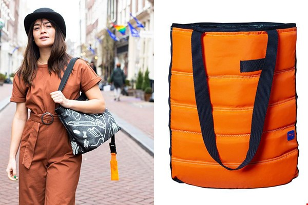 Links: reversible tas en rechts: knaloranje shopper