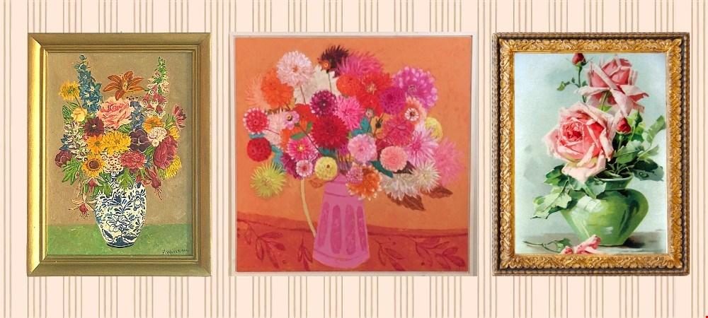 Van links naar rechts: Kringloopschilderijtje, schilderij van Andrea Letterie, kunst via pinterest