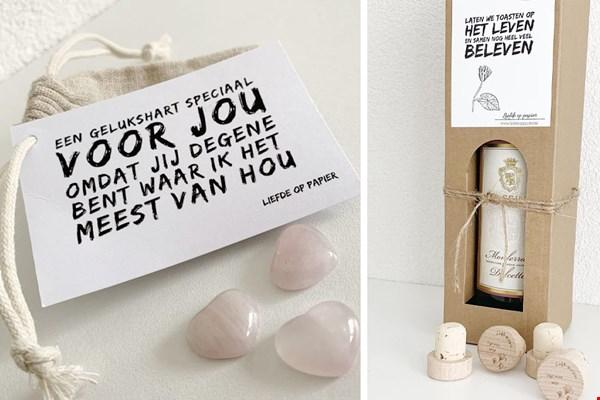 Liefdeoppapier bericht op label geschenk kaarten Flavourites