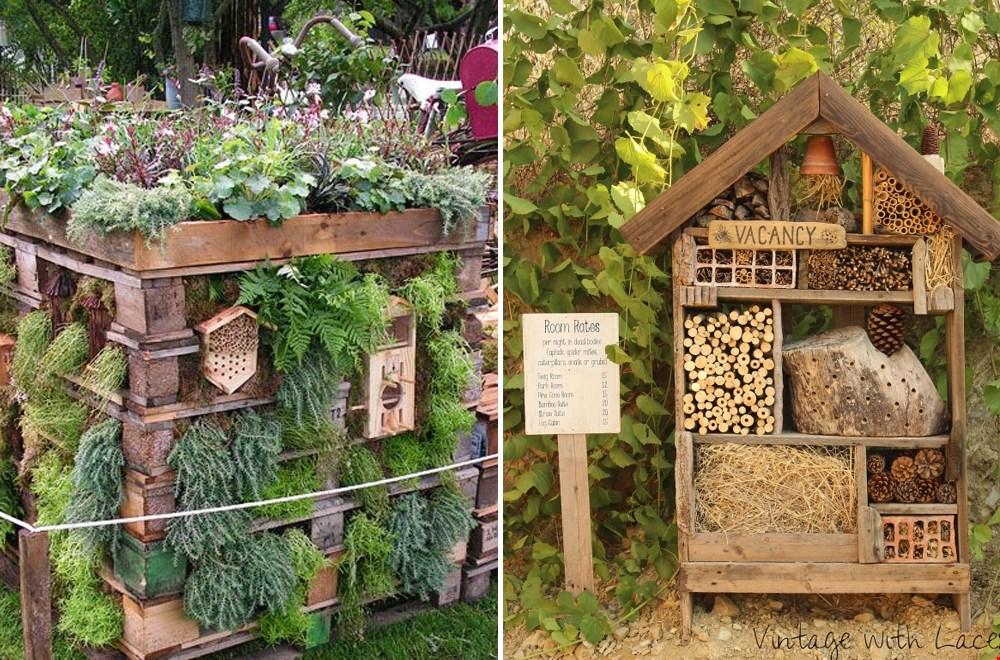 De ecotuin met een bijenhotel