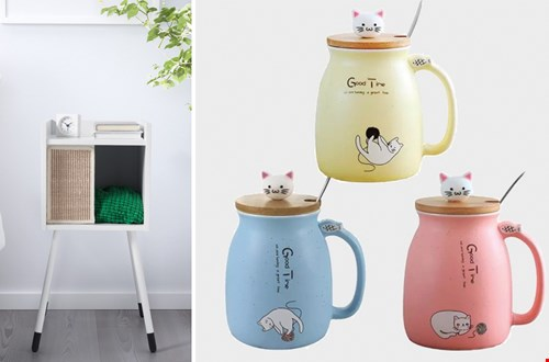 Handig kattenhuisje van Ikea en de leukste drinkbekers van crazycatladies
