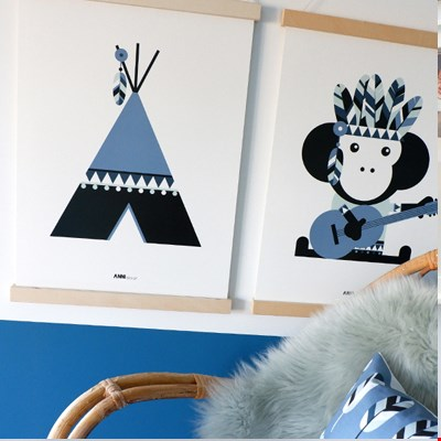 Poster Tipi - jeans blauw