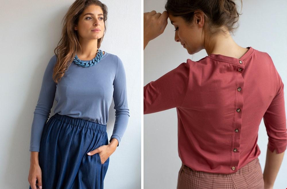 Links de 'Anne Denim' midi-rok van ME en rechts een prachtige blouse uit de nieuwe collectie van ME