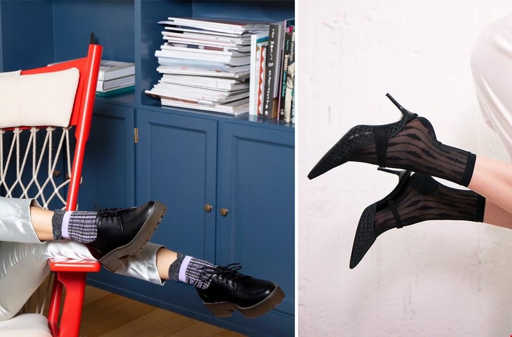 Links: 'Chance' sokken van MP Denmark en rechts 'Josefin Drop Socks' van Swedish Stockings, heel speels en stijlvol!