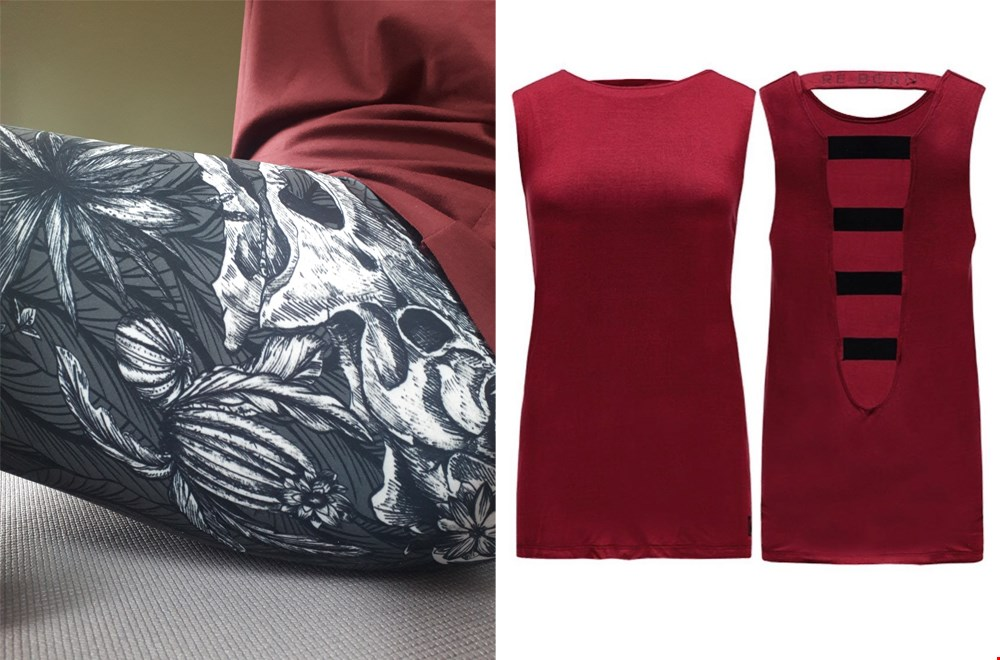 Fossil Chic Legging @yoga-specials, Elasticated Back Tanktop @Re-Born Sports