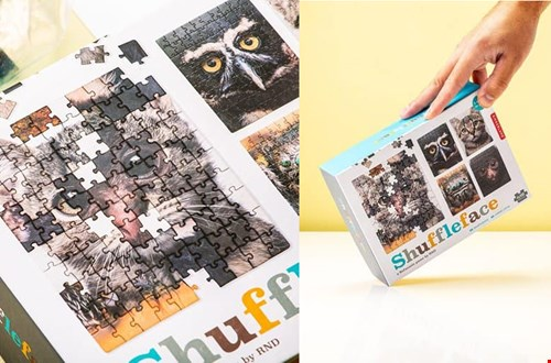 bizarre shuffle face puzzel met dierengezichten