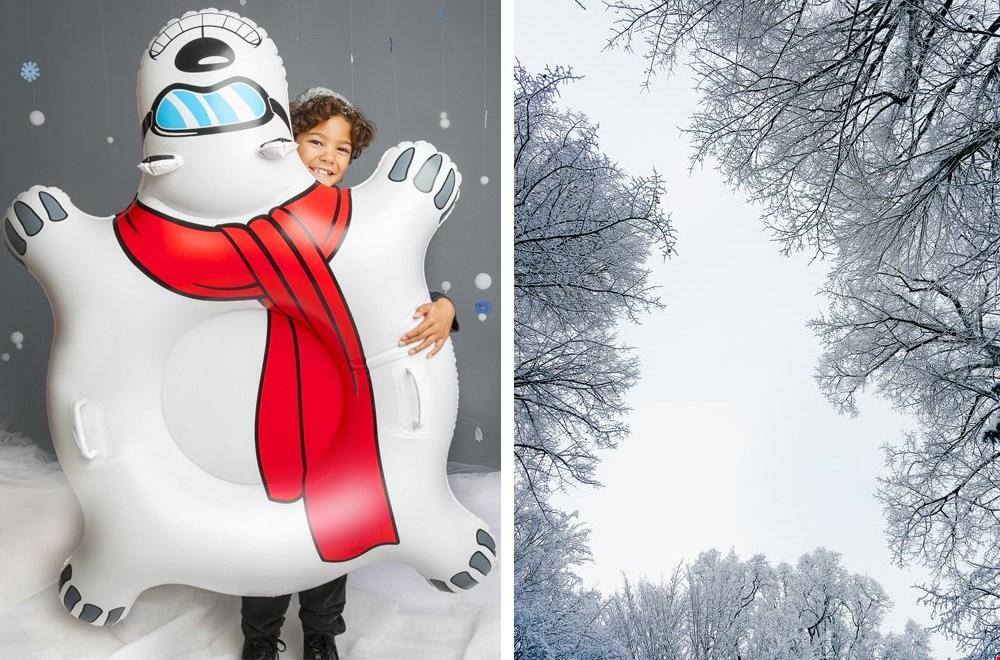 Wie is er snelste beneden op deze stoere ijsbeer sneeuwband?