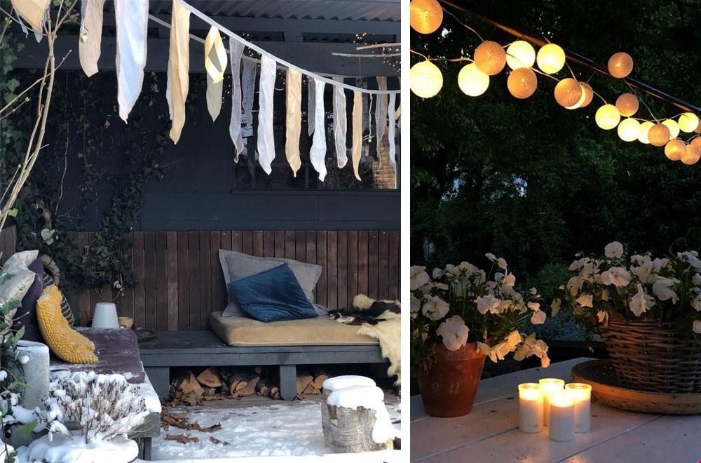 Creëer je eigen mini winter festival met een vlaggenslinger en lichtsnoer
