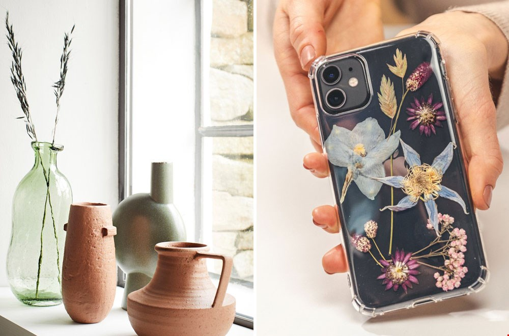Van subtiele takjes in een vaas tot een telefoonhoesje van droogbloemen. Ideeën te over!
