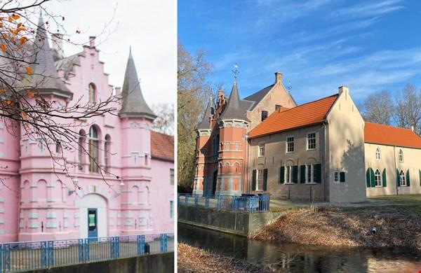 Foto links: Werk aan de Muur. Het kasteel toen en nu