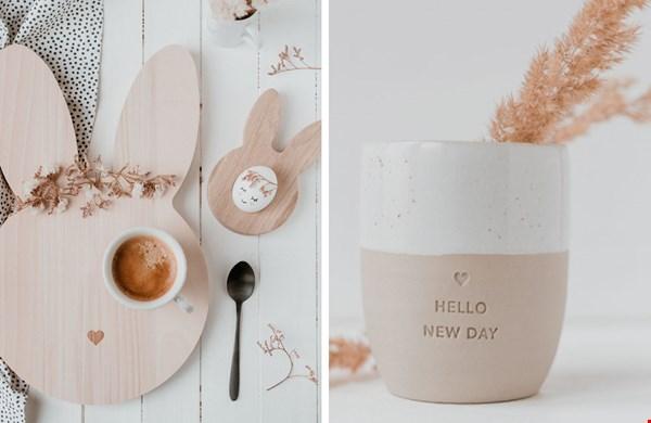 Houten ontbijtplankjes en onze favoriete koffiekop!
