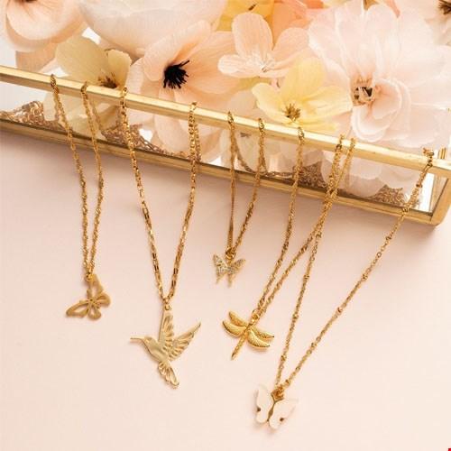 Gouden kettingen met vlinders / kolibrie / libellen