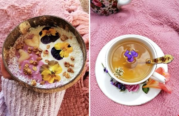 Viooltjes in granola of in de thee
