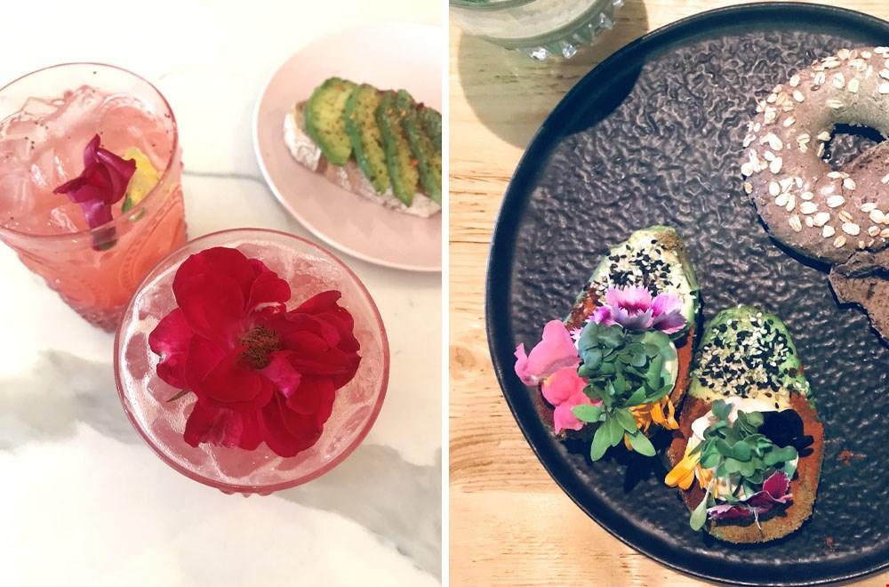 Food decoratie in cocktail en op het bord (Avocado Club Amsterdam)
