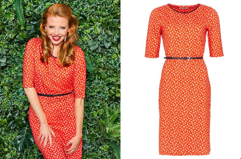 Mooie rood-oranje jurk van POM Amsterdam