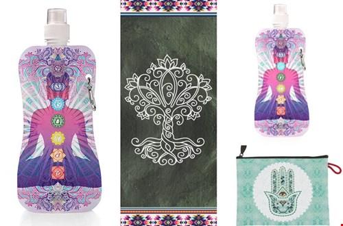 Leuk: een watefles, bijpassende yogamat en andere accessoires van Aqua-Licious