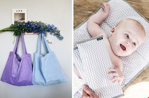 Ook mooi in lila, deze Mom Bag. En onmisbaar: een verschoonmatje.