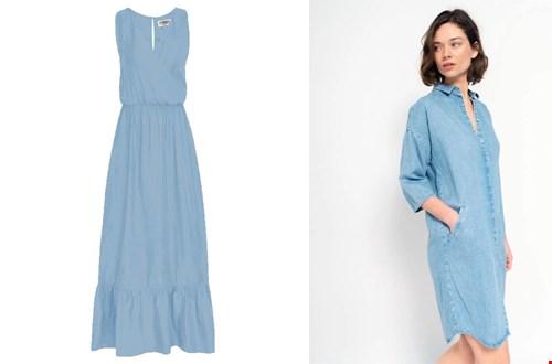 Links: blauwe zomerjurk Sus&Co, rechts: tencel jurk Ditha Bonita