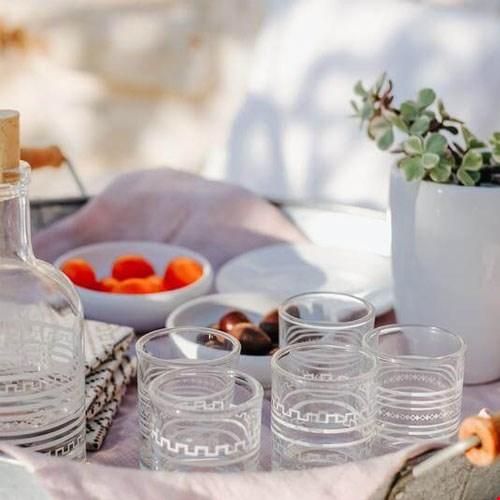 Raki Bottle and Glasses
