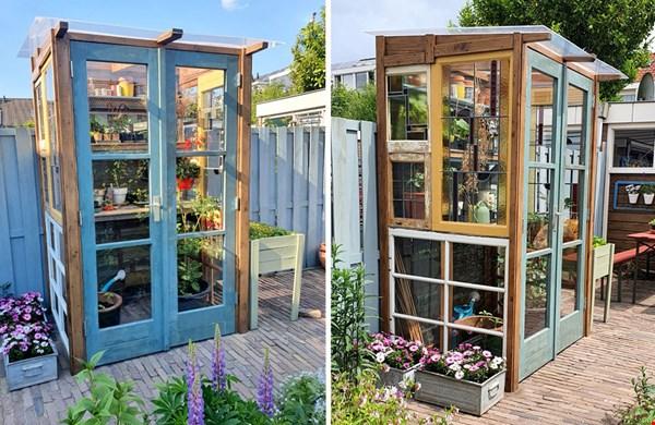 DIY tuinkas van oude bouwmaterialen