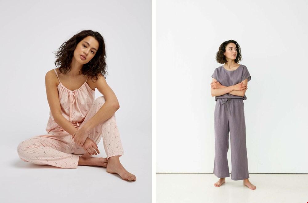 Roze met poezenprint van People Tree en lavendel linnen van Pillow and Pajamas
