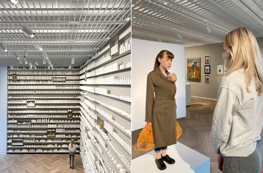 Links: installatie van Itamar Gilboa en links: kunstwerk van Ron Mueck