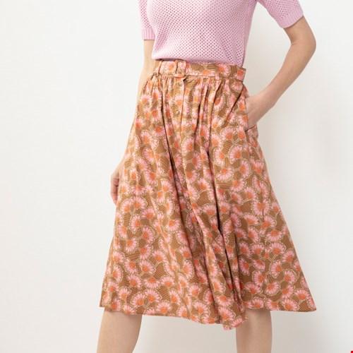 Bruine rok met bloemenprint