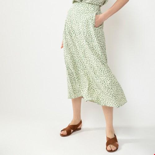 Groene midi rok met bloemenprint