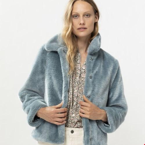 Lichtblauwe Faux Fur Jas