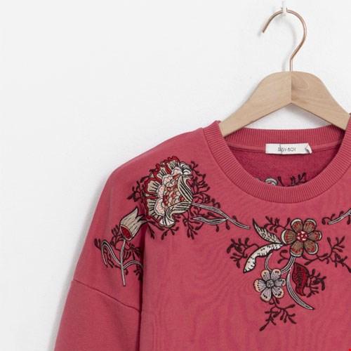 Roze Sweater met Embroidery