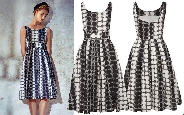 Isobel dress met gave print