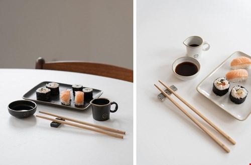 Zusss Set Sushi Servies Aardewerk Zwart/Wit Flavourites