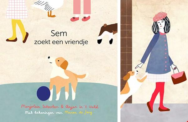 De cover van het prentenboekje Sem zoekt een vriendje en rechts een gedeelte van een illustratie door Manon de Jong