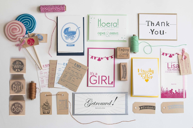 Loveletterpress geboorte kaarten en trouwkaarten school traktaties gedrukt in papier Flavourites