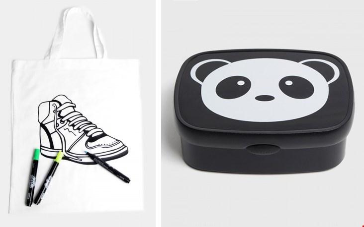 Links een voorbeeld van de 'inkleurtas'; rechts een typisch Bij Kiki ontwerp, vrij clean en bijna beeldtaal!