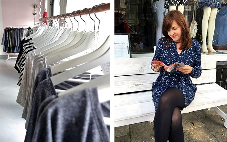 Martina voor de winkel in de lunchpauze waar ze vaak een kop koffie drinken. Links een kijkje naar binnen, een ruimte goed verlicht door de zon!