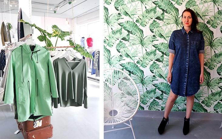 De zussen zijn helemaal dol op deze green jungle muur; regelmatig worden hier de foto's gemaakt van items die nieuw binnen zijn gekomen.