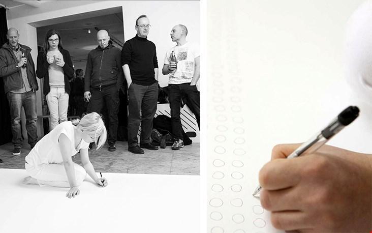 Het kunstproject 'Pooogen', waarbij Jessica 48 uur lang probeert om de perfecte cirkel te tekenen... Lees er meer over via Jessicavandeursen.com