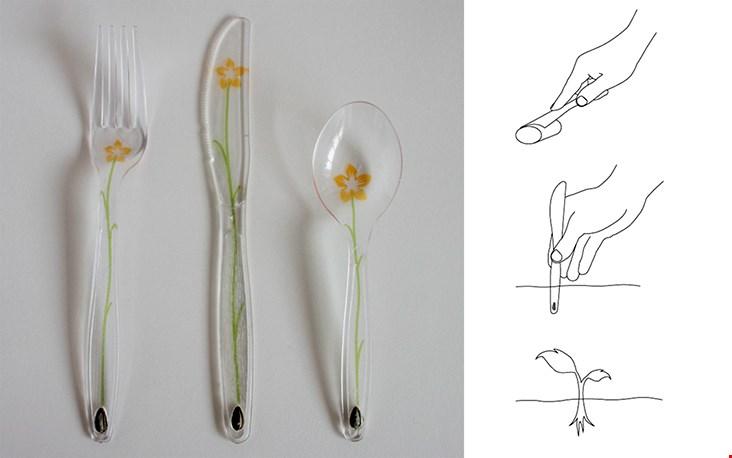 Biologisch afbreekbaar plastic bestek van Levi Baeten
