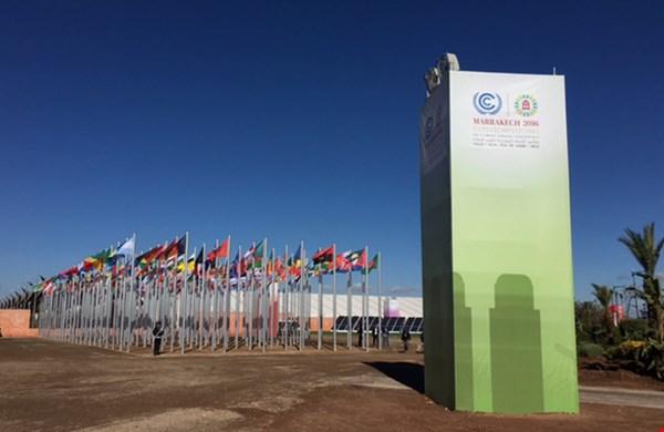De vlaggen van alle landen die deelnemen aan de klimaattop 2016