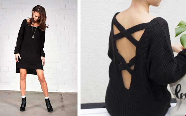 Black sweater dress van Brainydays.nl