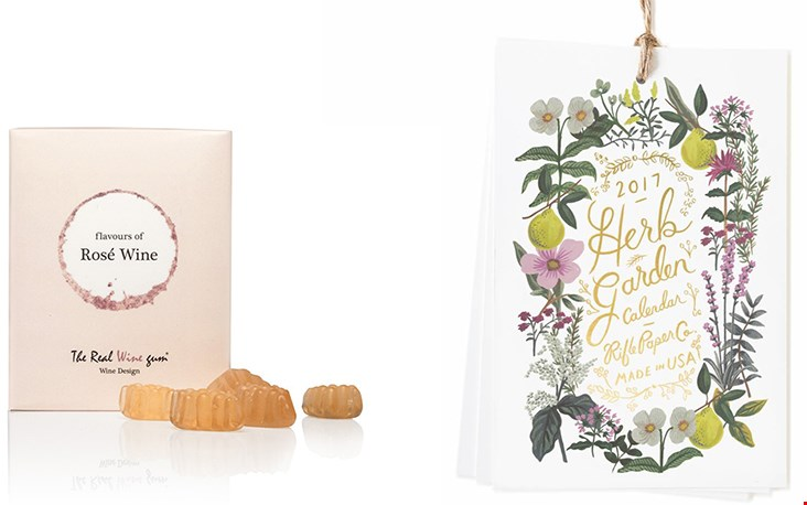 Links de heerlijke Vinoos, rechts ook 'n snoepje: de Herb Garden kalender