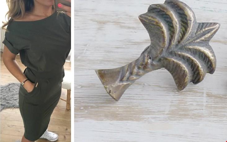 Links het nét gemiste jurkje van Fashiontruck.nl, rechts het deurknopje van Mytreasurehunts.nl