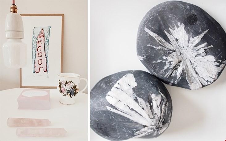 Hoe mooi; links de Rozenkwarts Arrow, rechts de Chinese flower stone
