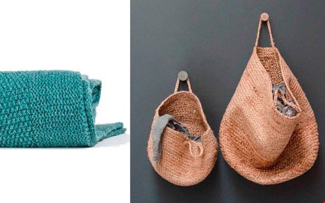 Deze stoere plaid (Hetgroenefabriekje.nl) is gemaakt van gerecyclede jeans. Op te bergen in een jute mand (gezien bij Moojenco.nl)