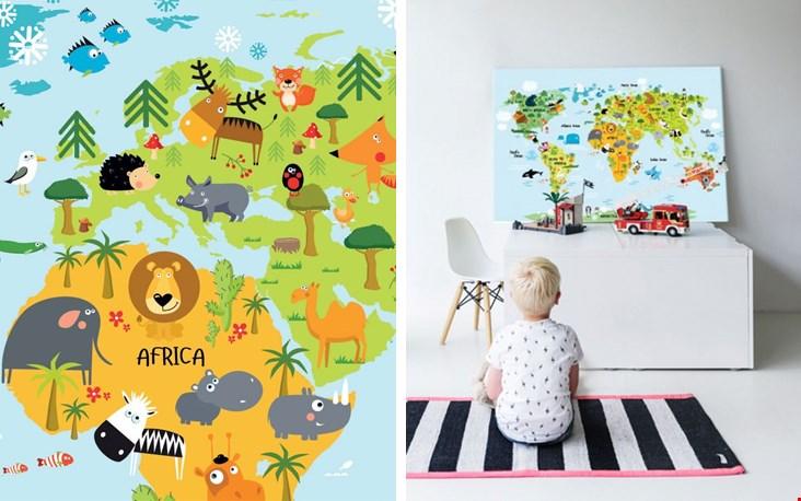 Perfect voor op de kinderkamer, deze kleurrijke kinderwereldkaart!