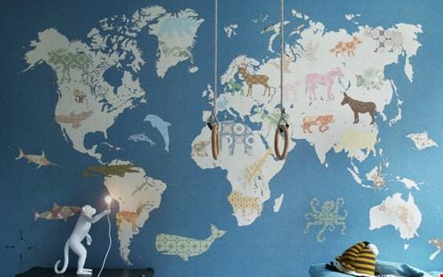 wereldkaart met dieren