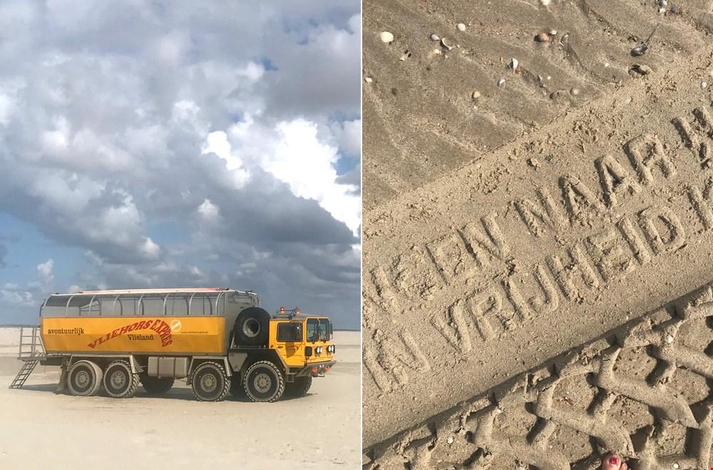 Overal op het eiland vind je gedichten in het zand