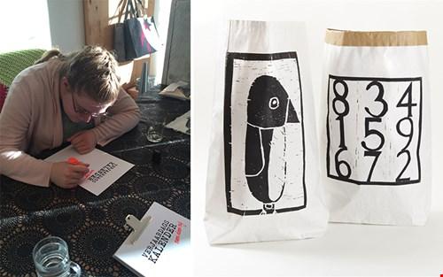 Links illustreert Marjolein de verjaardagskalenders en rechts één van de populairste producten van Mooidoormij.nl