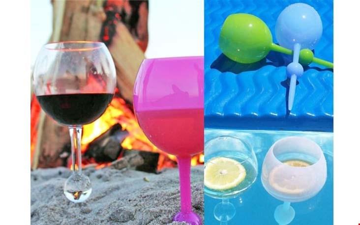 Prik je wijn in het zand